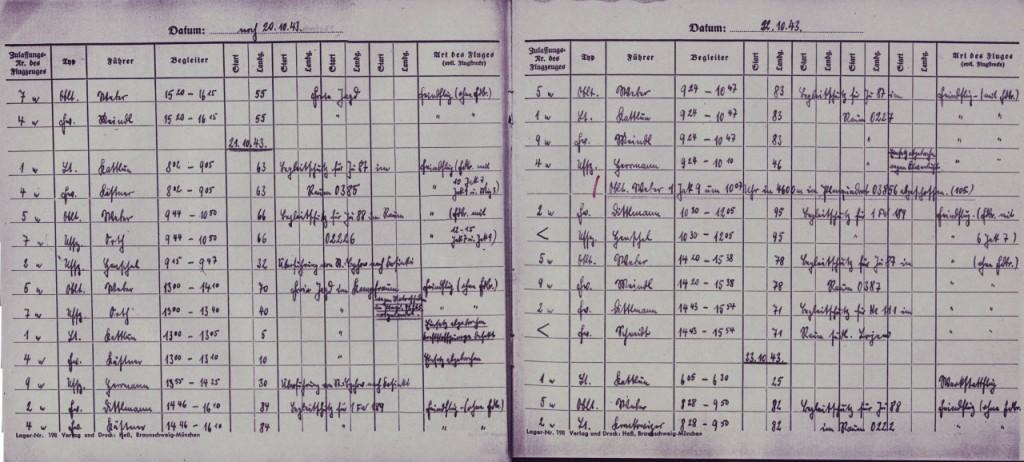 Extract of the 7th Staffel Startkladde - Jagdgeschwader 51